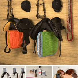 Tack Equipment organized on slatwall panels