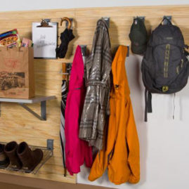 Slatwall Panel Mud Room Organization