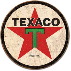 Texaco Round Tin Sign