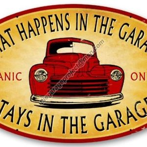 What Happens in The Garage Sign