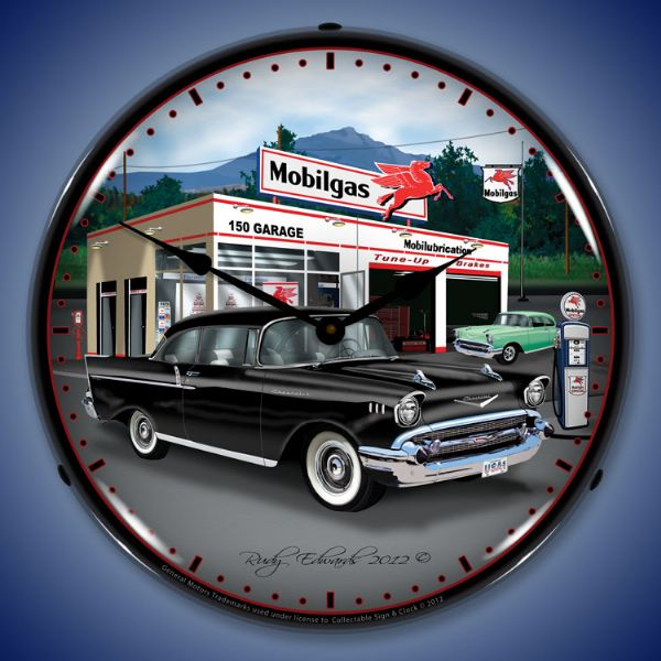 1957 Chevy Mobilgas Backlit Clock