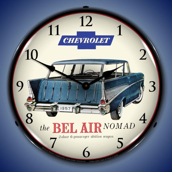 1957 Chevrolet Bel Air Nomad Backlit Clock