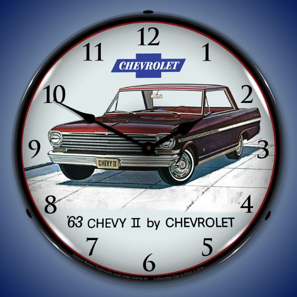 1963 Chevy II Nova SS Backlit Clock