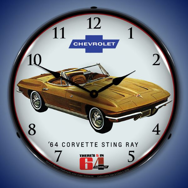 1964 Corvette Sting Ray Backlit Clock