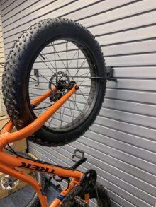 Handiwall vertical Fat Tire Bike Hook in use